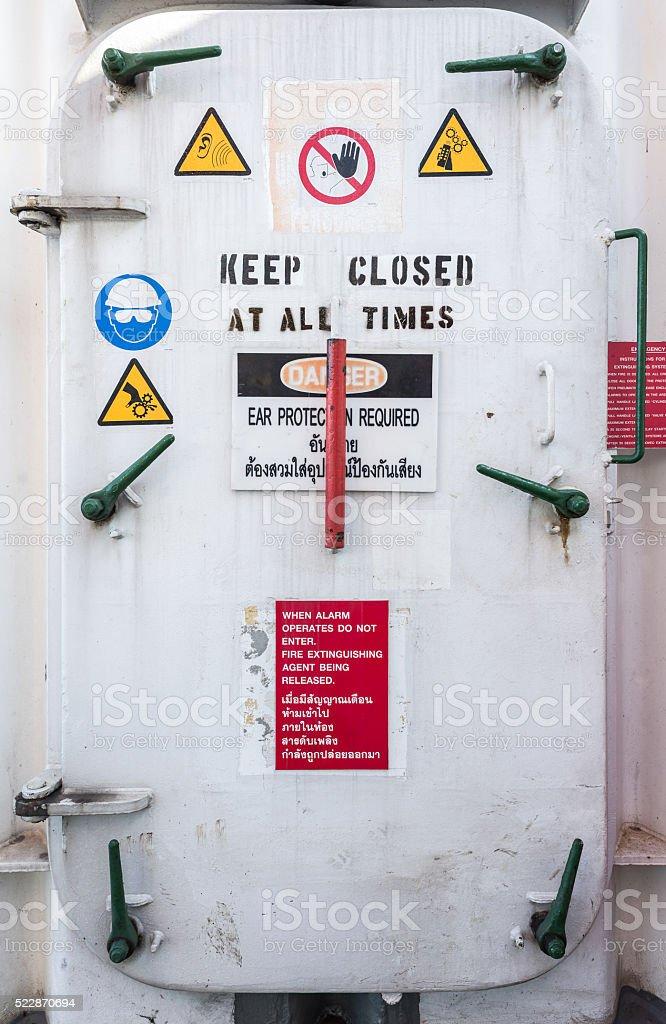 Oil rig watertight door stock photo