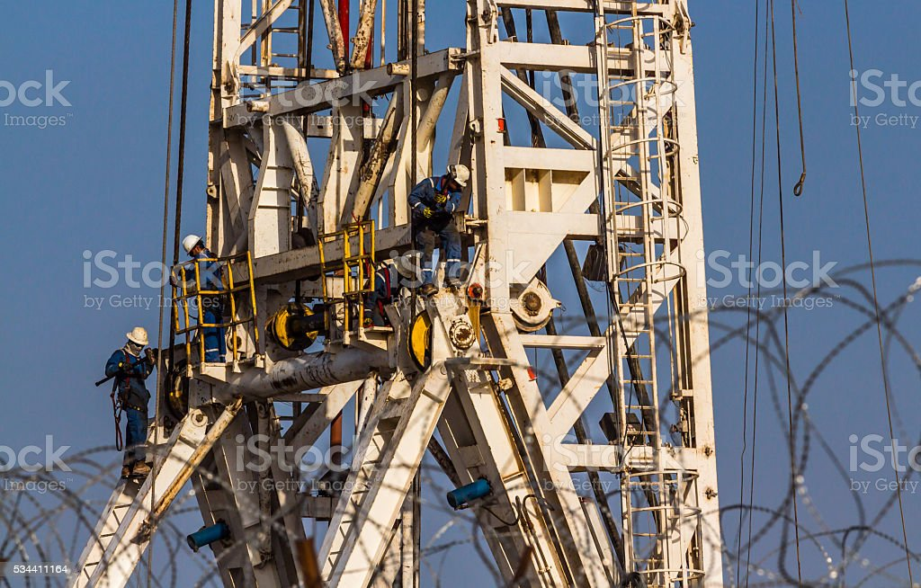 Oil rig work stock photo