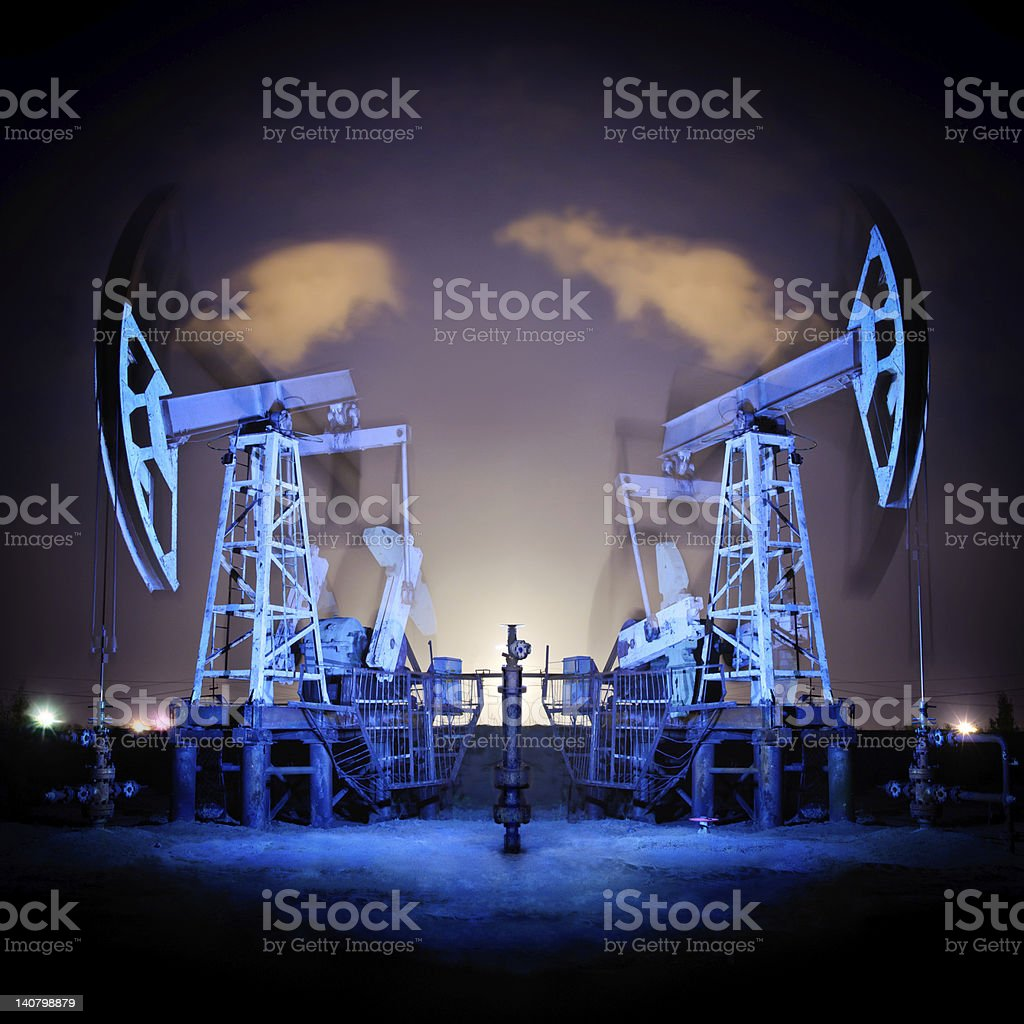 Oil Rigs at night. royalty-free stock photo