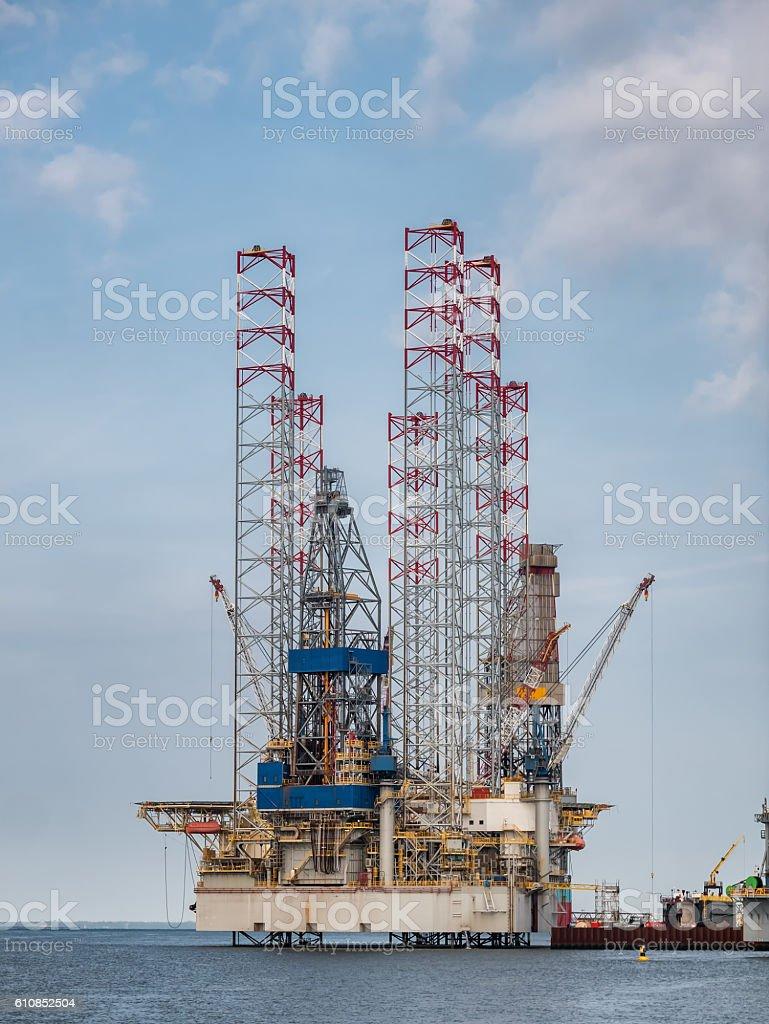 Oil rigs in Esbjerg harbor, Denmark stock photo