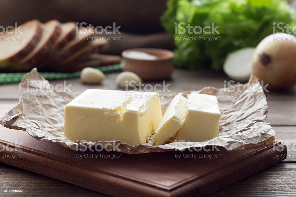oil, salt , onion , sliced bread stock photo