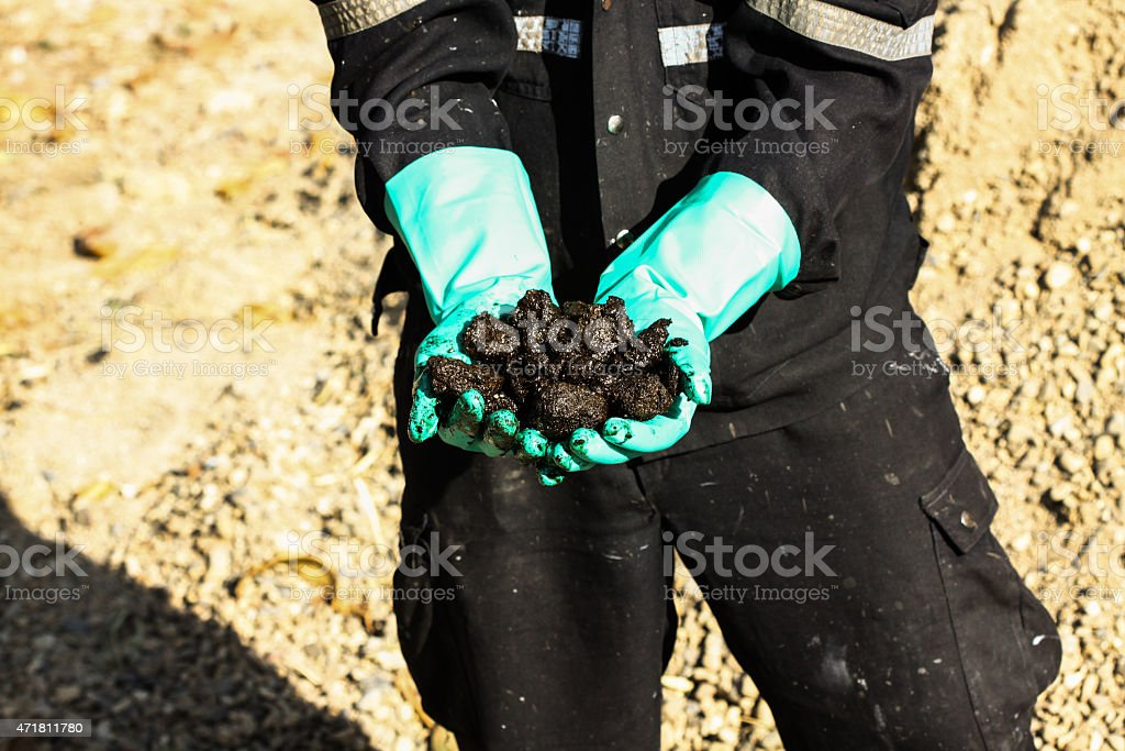 Oil sands development from an oil drilling district. stock photo