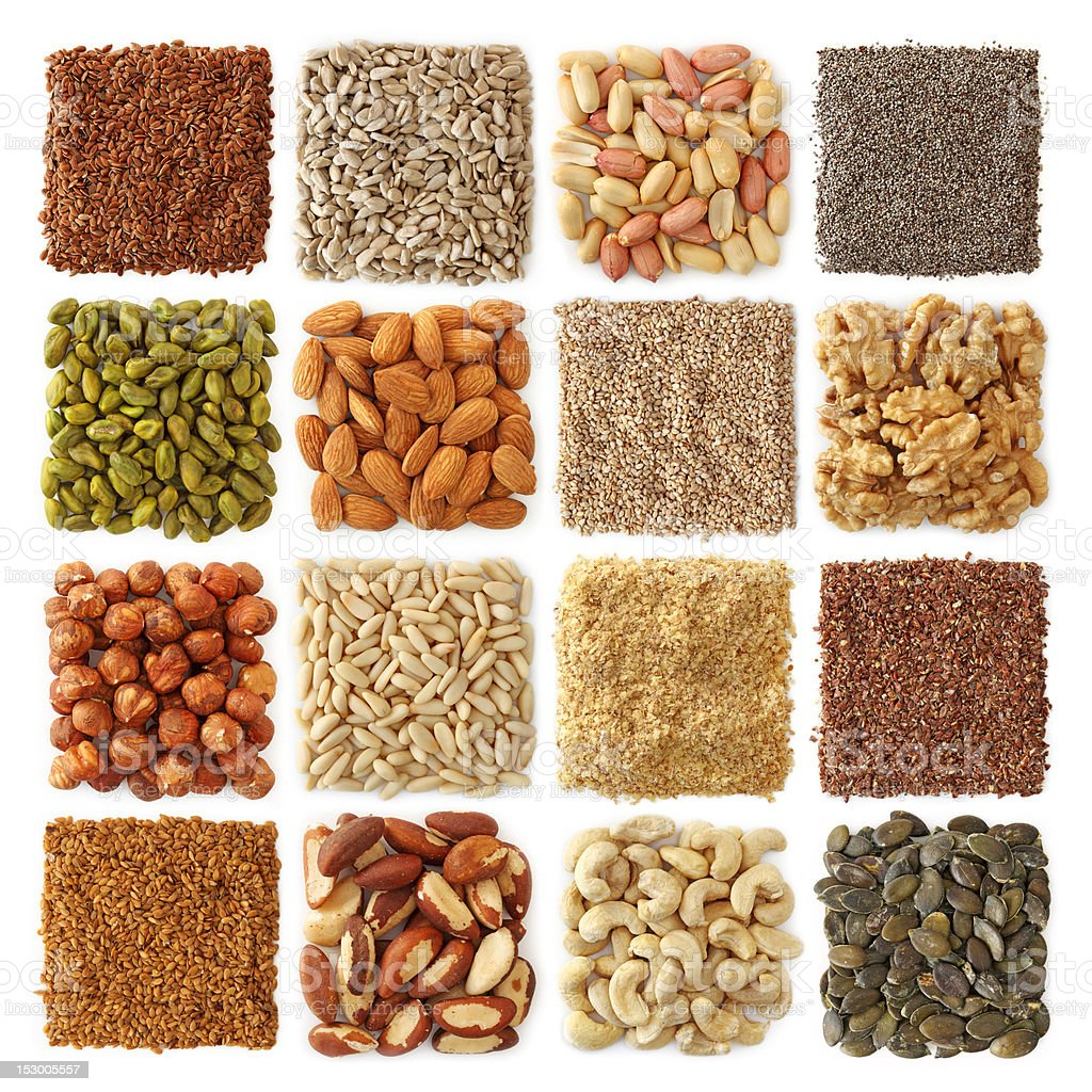 Oil seeds and nuts stock photo