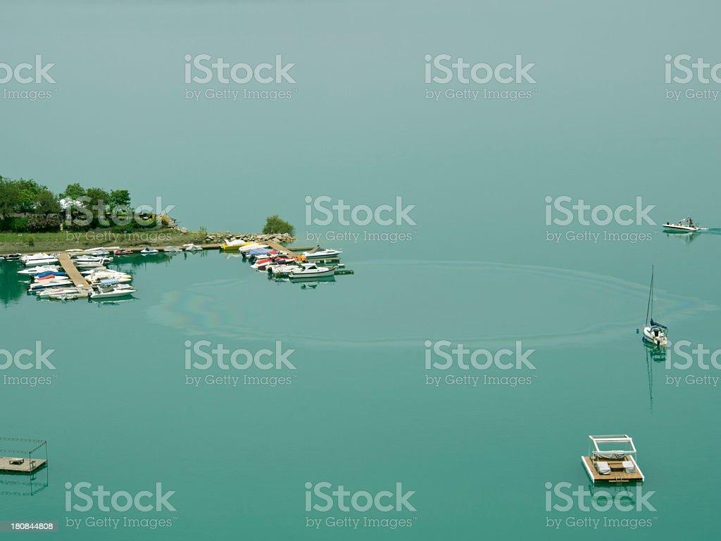 Oil Slick In Lake stock photo