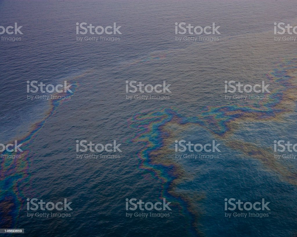 Oil slick on the Gulf of Mexico stock photo