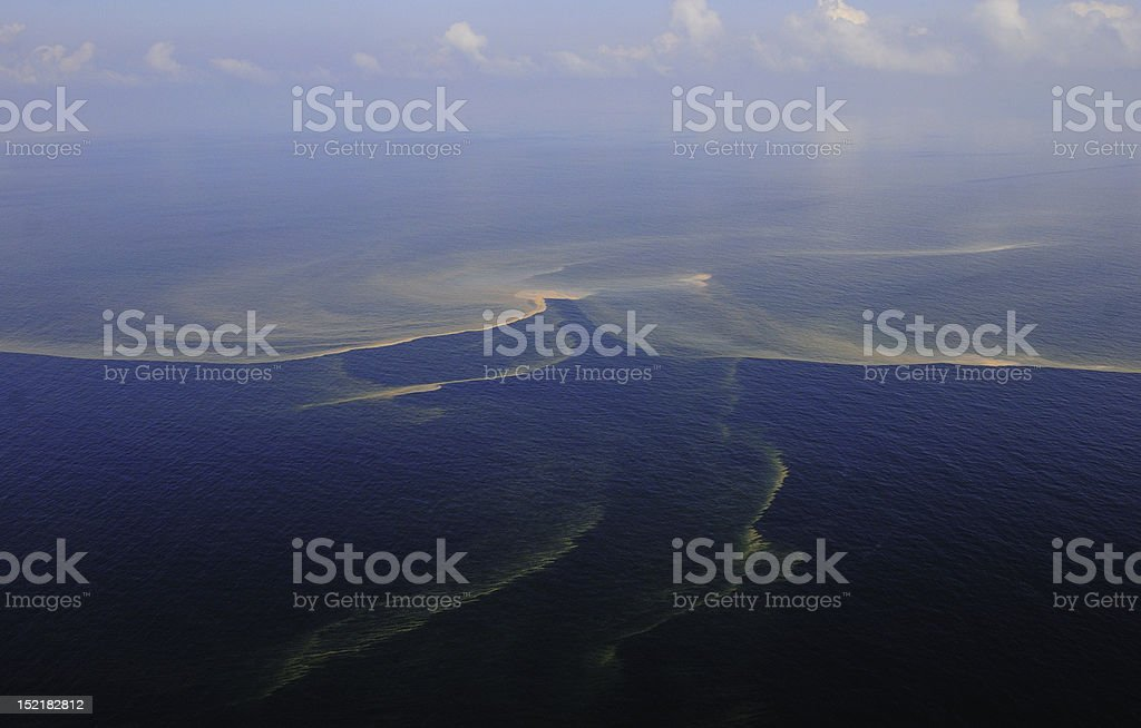 Oil Spill Aerial View stock photo