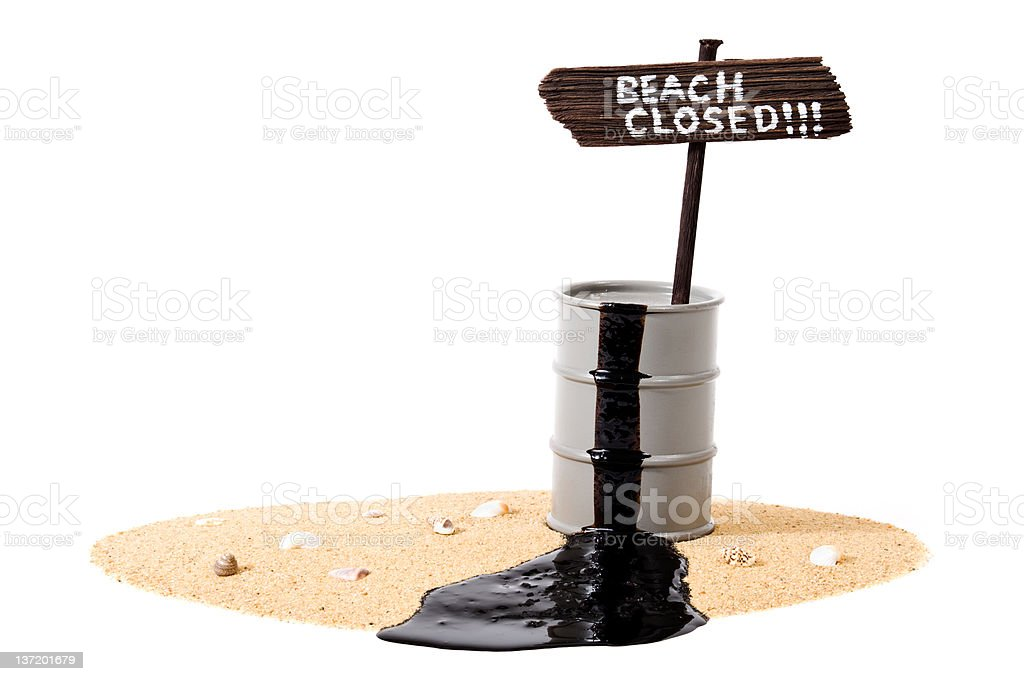 Oil Spill - Beach Closed royalty-free stock photo