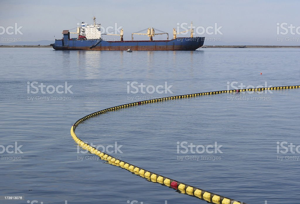 Oil Spill Boom stock photo