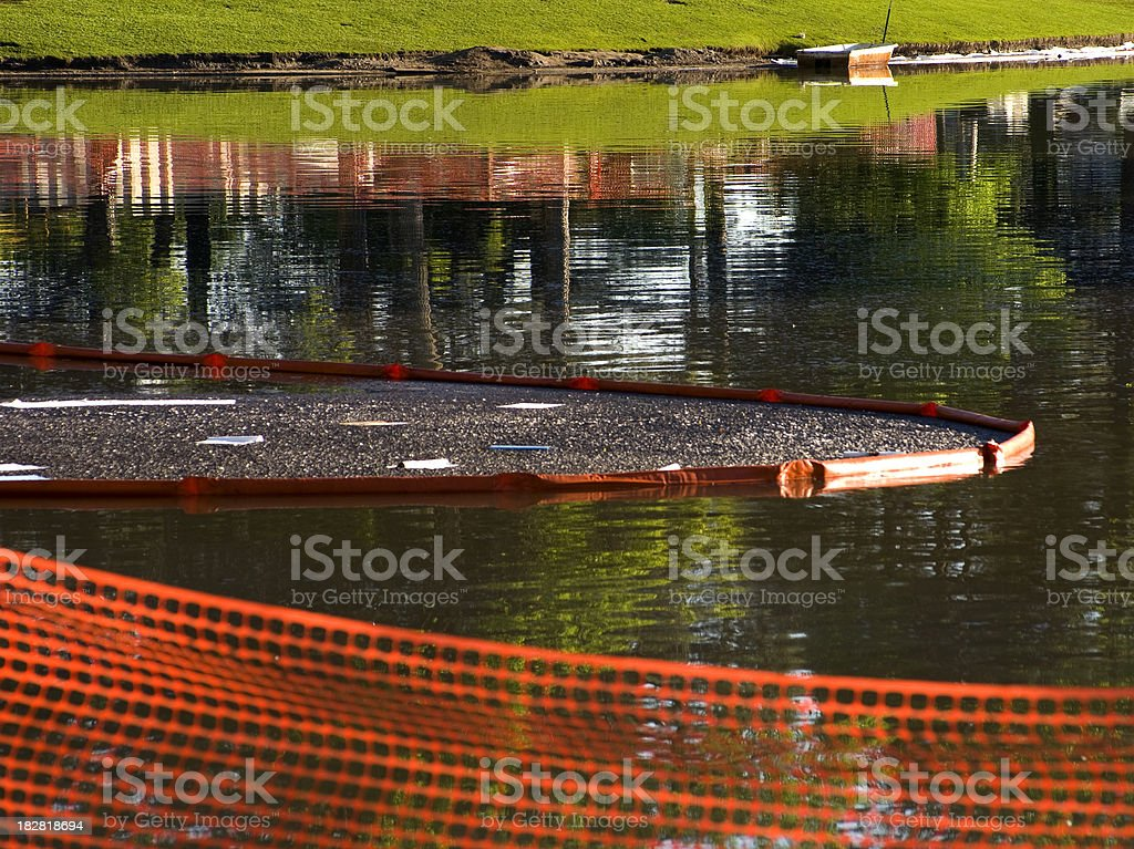 Oil spill clean up stock photo