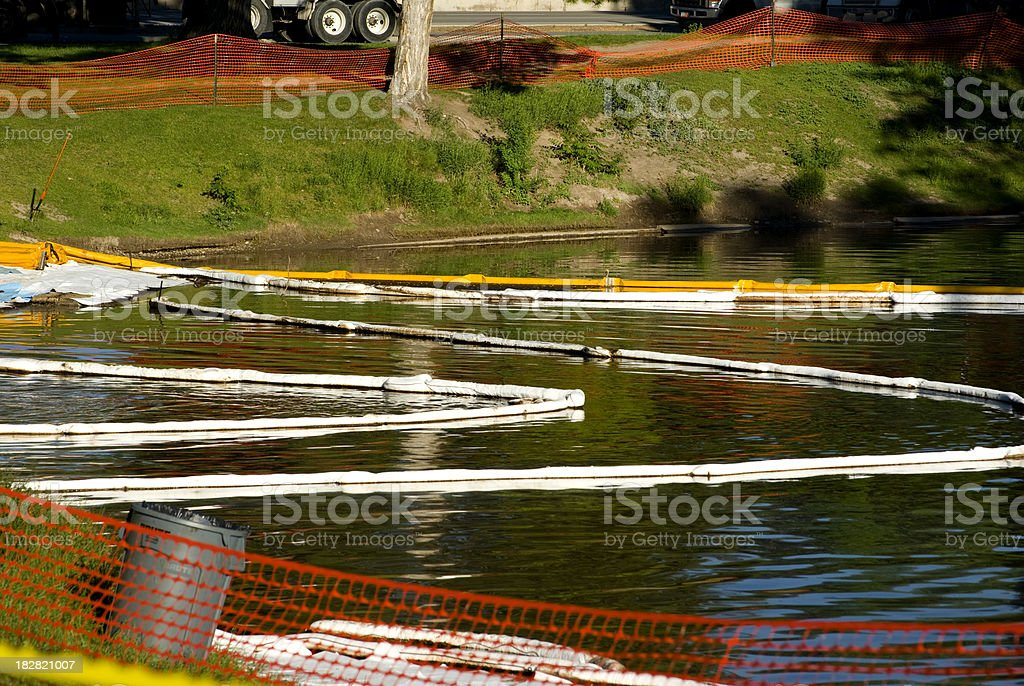 Oil spill clean up royalty-free stock photo