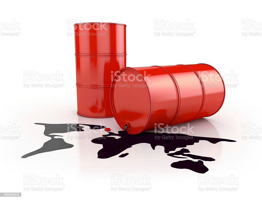 oil spill in planet shape and barrels stock photo