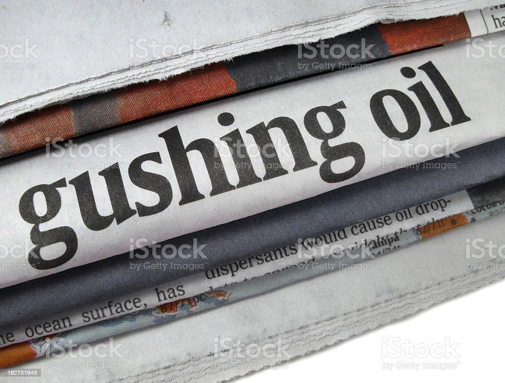 Oil Spill Newspaper Headline stock photo