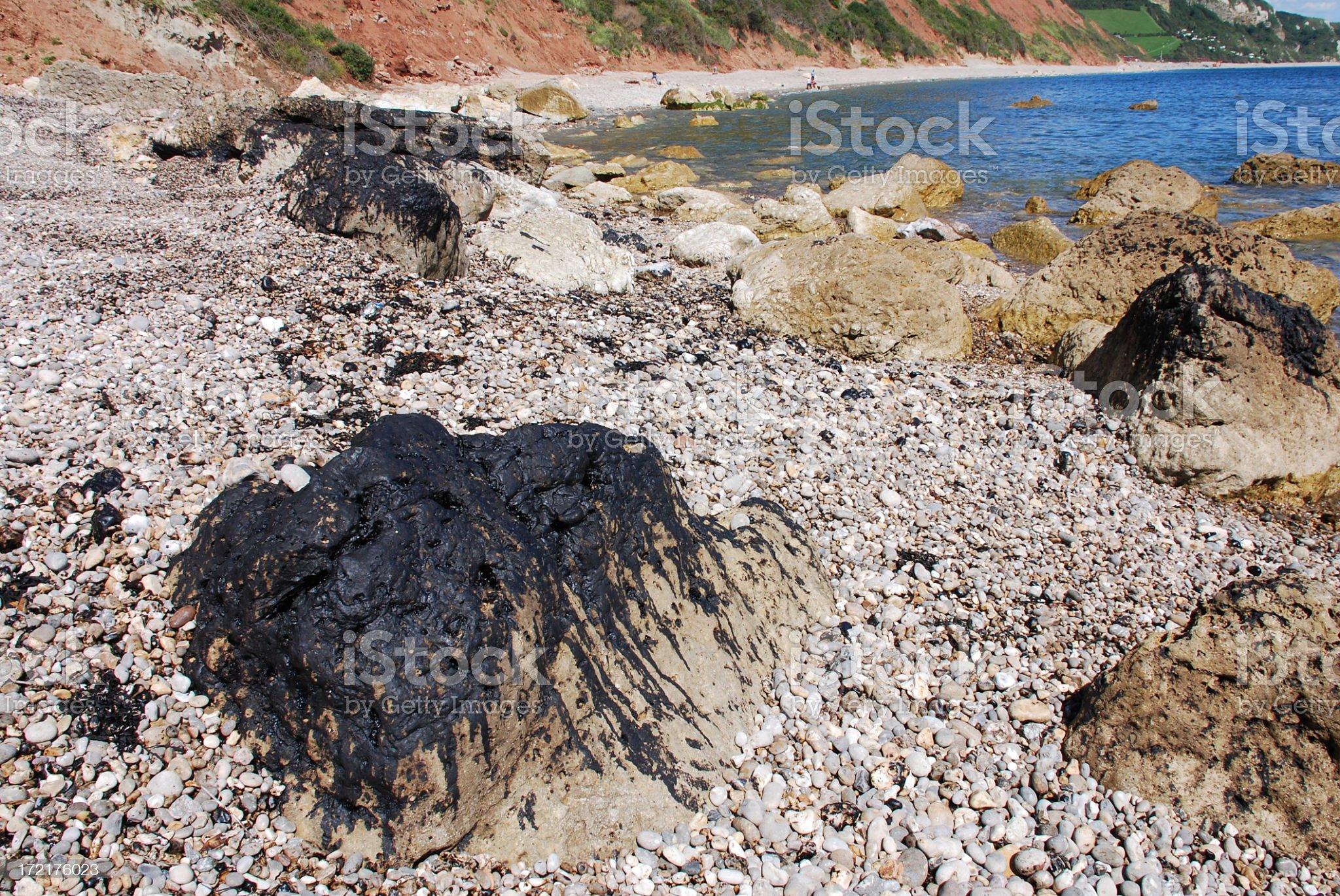 Oil Spill on Coast royalty-free stock photo