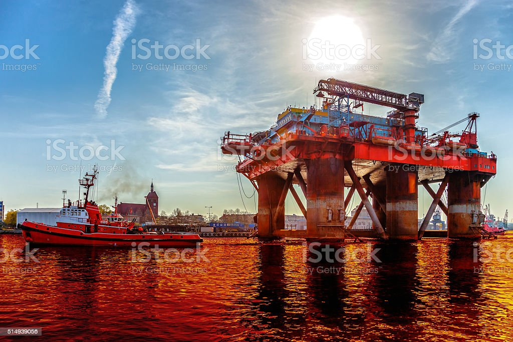 Oil spill on the water stock photo