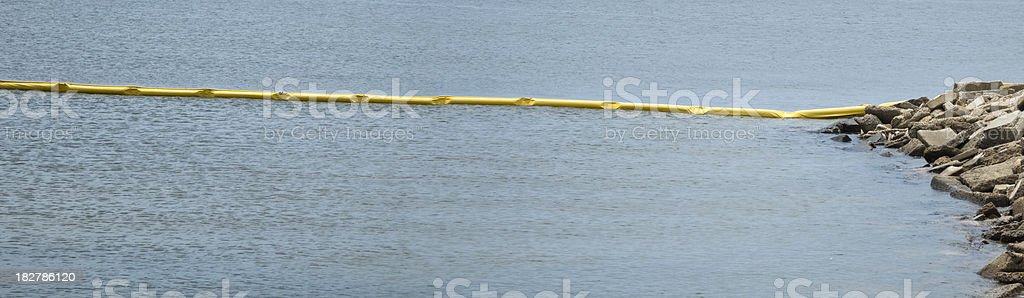 Oil Spill Protection Boom Deployed Along Gulf of Mexico Coastline stock photo