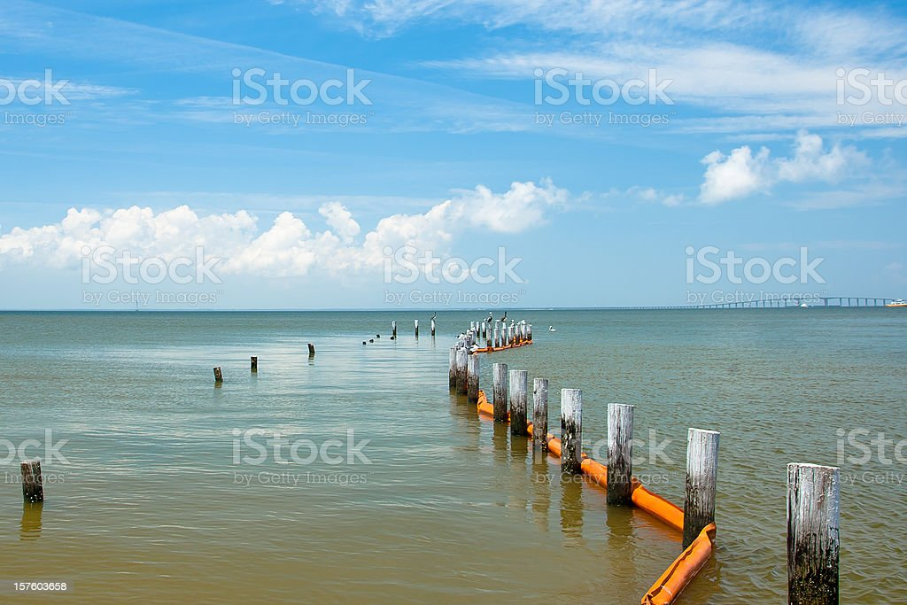 Oil Spill Protection Boom royalty-free stock photo