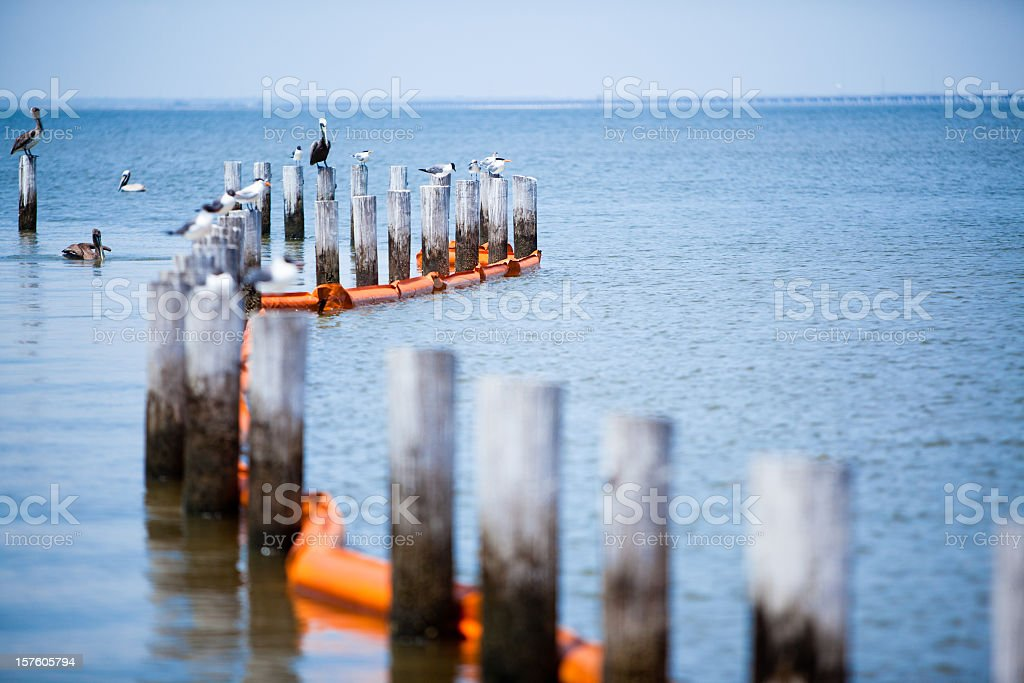 Oil Spill Protection Boom stock photo
