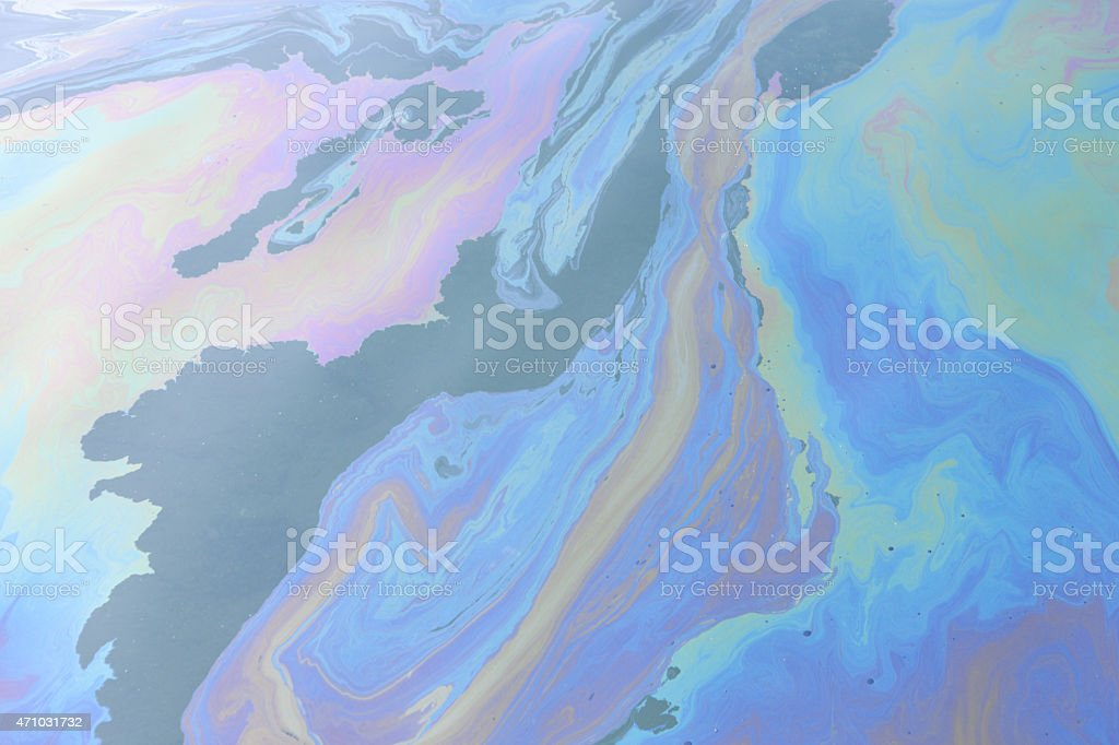 Oil Spill Slick Toxic Pollution on the Sea Water stock photo