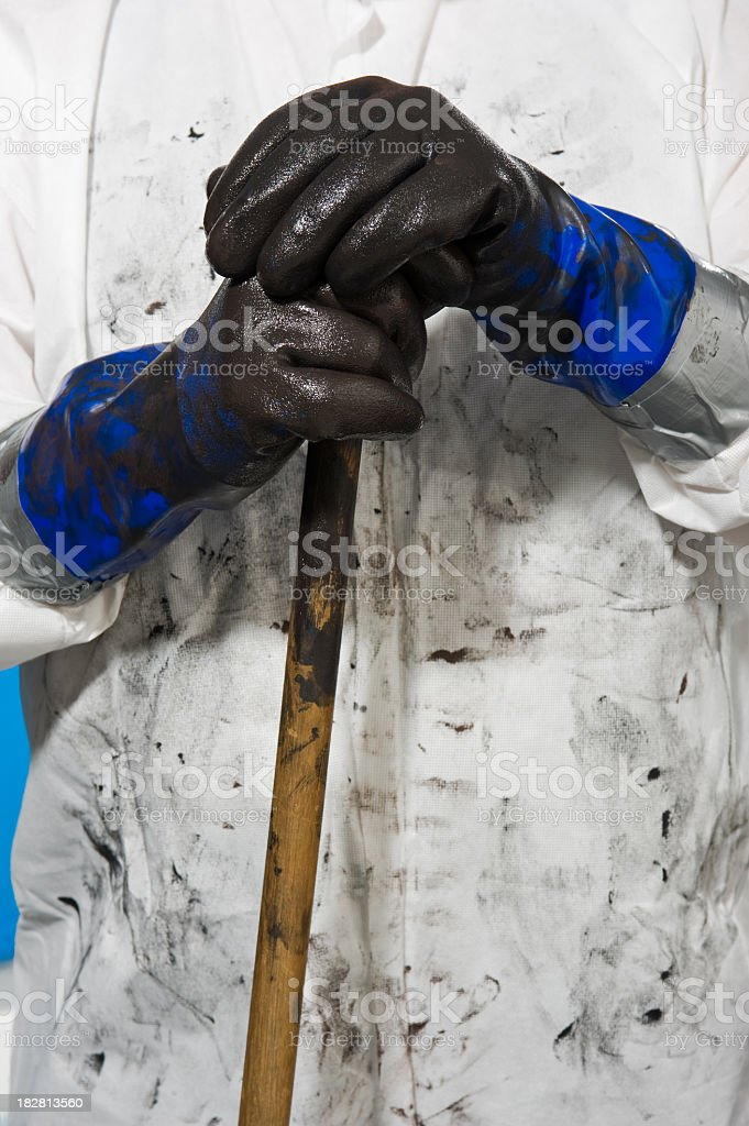 oil stained clean up crew stock photo