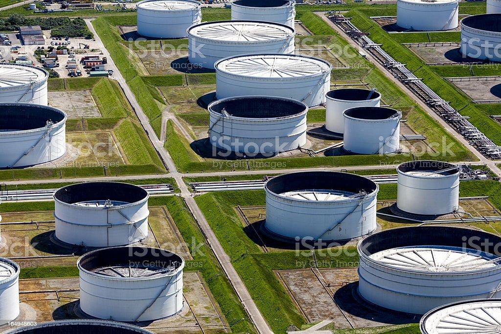 Oil storage tank aerial stock photo