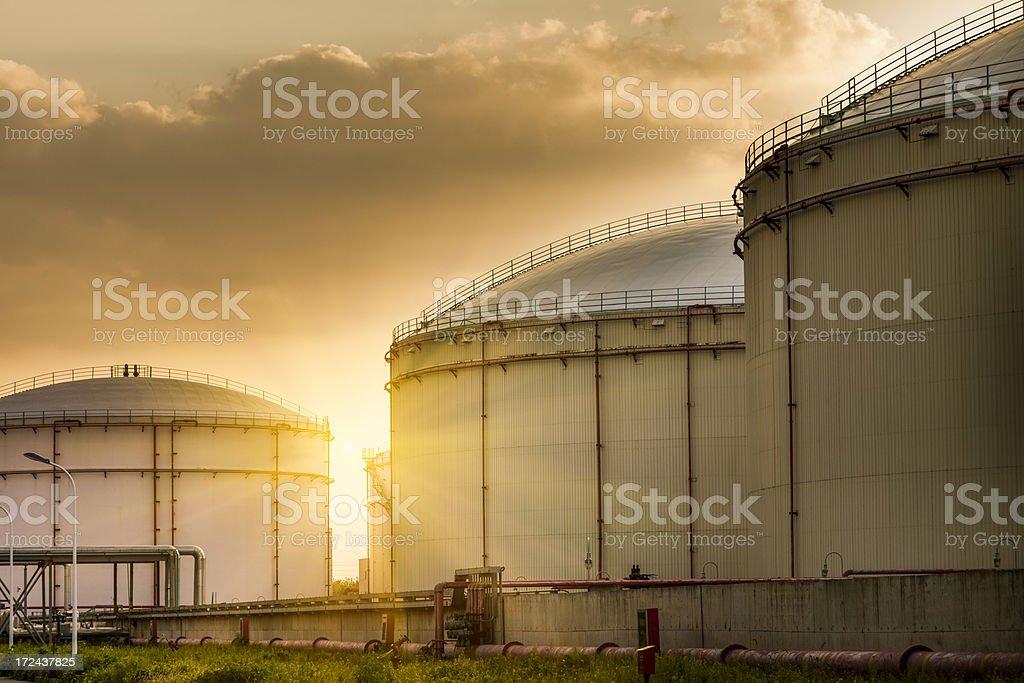 Oil Storage tanks stock photo