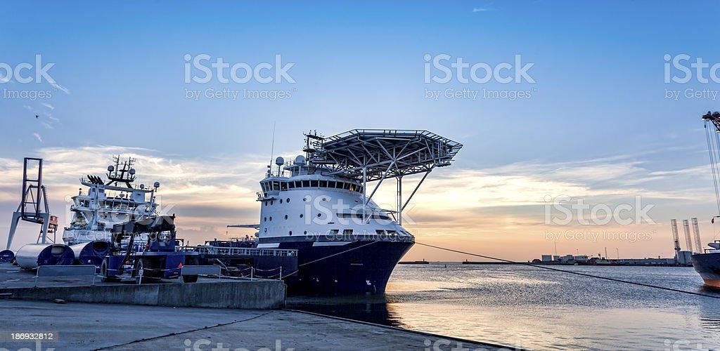Oil supply ships docked in Esbjerg Harbor, Denmark stock photo
