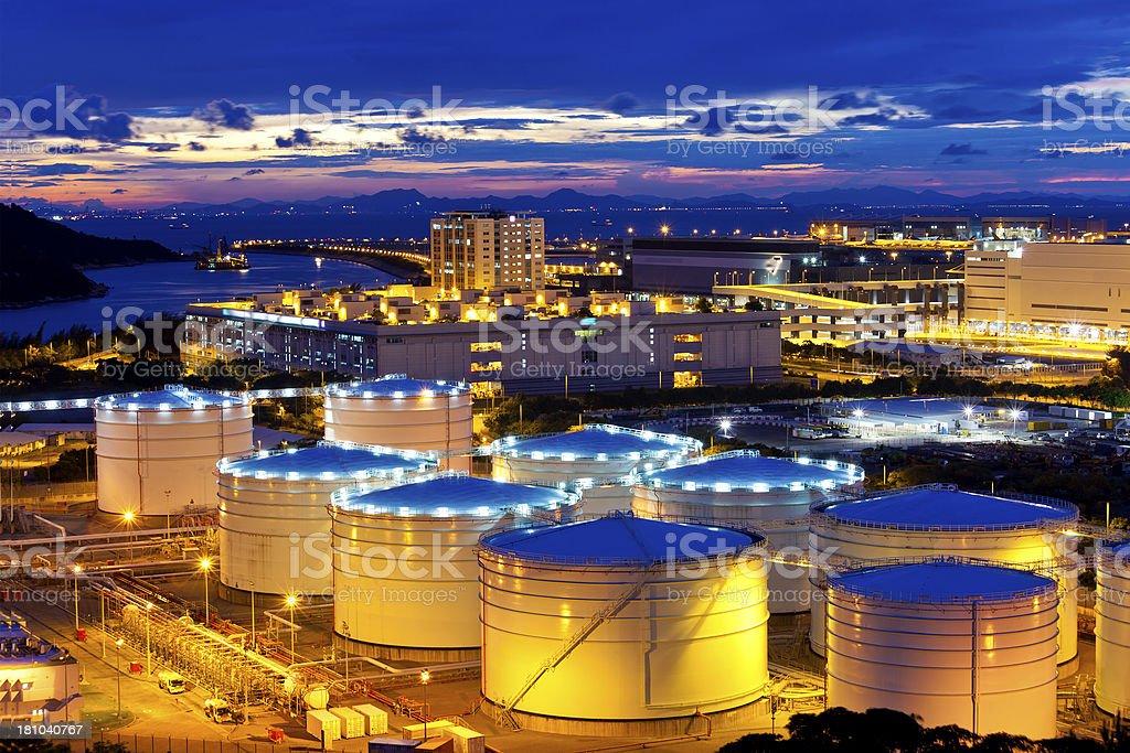 Oil tank at sunset in Hong Kong royalty-free stock photo