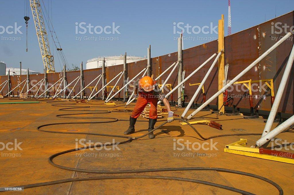 Oil tank erection stock photo