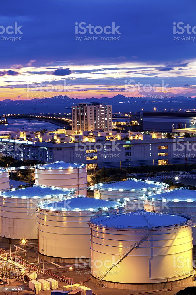 Oil tank in cargo terminal royalty-free stock photo