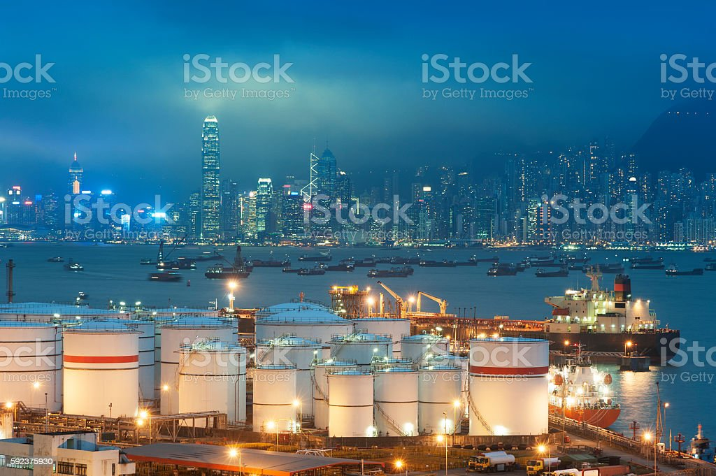 Oil tank in harbor stock photo