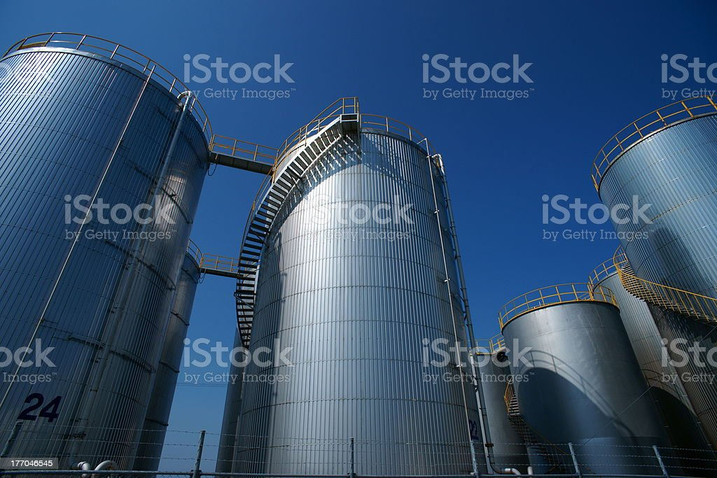 Oil tank in Matsusaka harbor stock photo