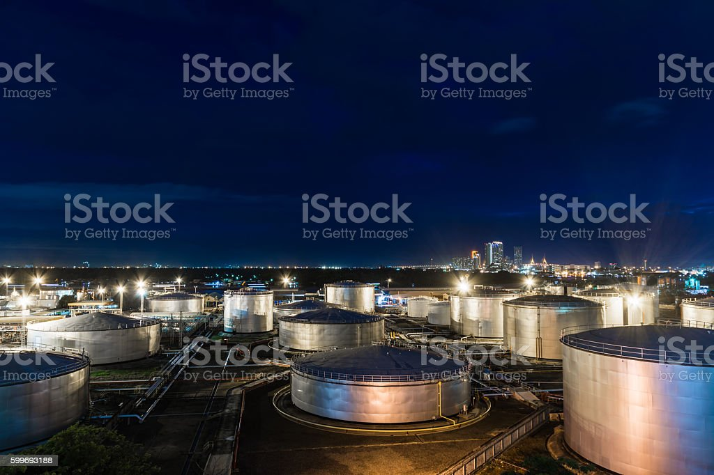 Oil tank industrial stock photo