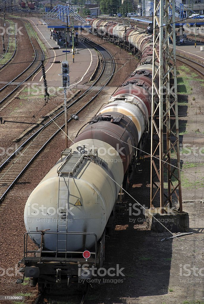 oil tank railway carriages stock photo