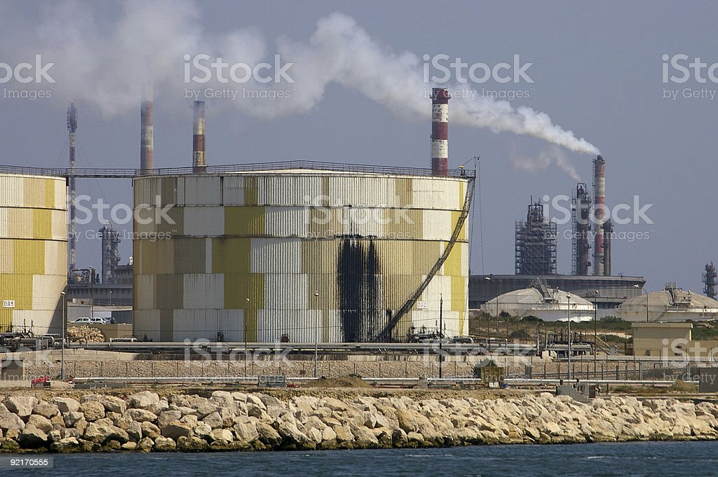 Oil tank with black stains royalty-free stock photo