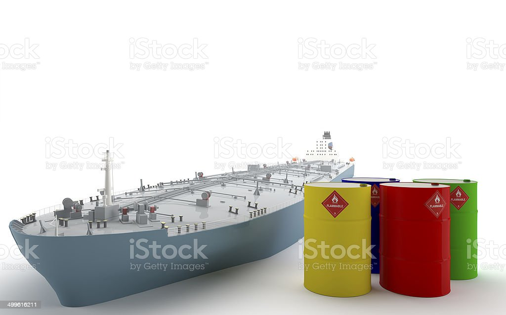Oil Tanker and Barrels stock photo