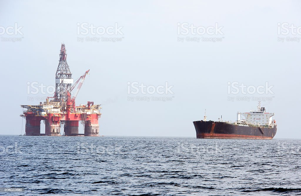 Oil Tanker and Rig, Walvis Bay, Namibia, Africa stock photo
