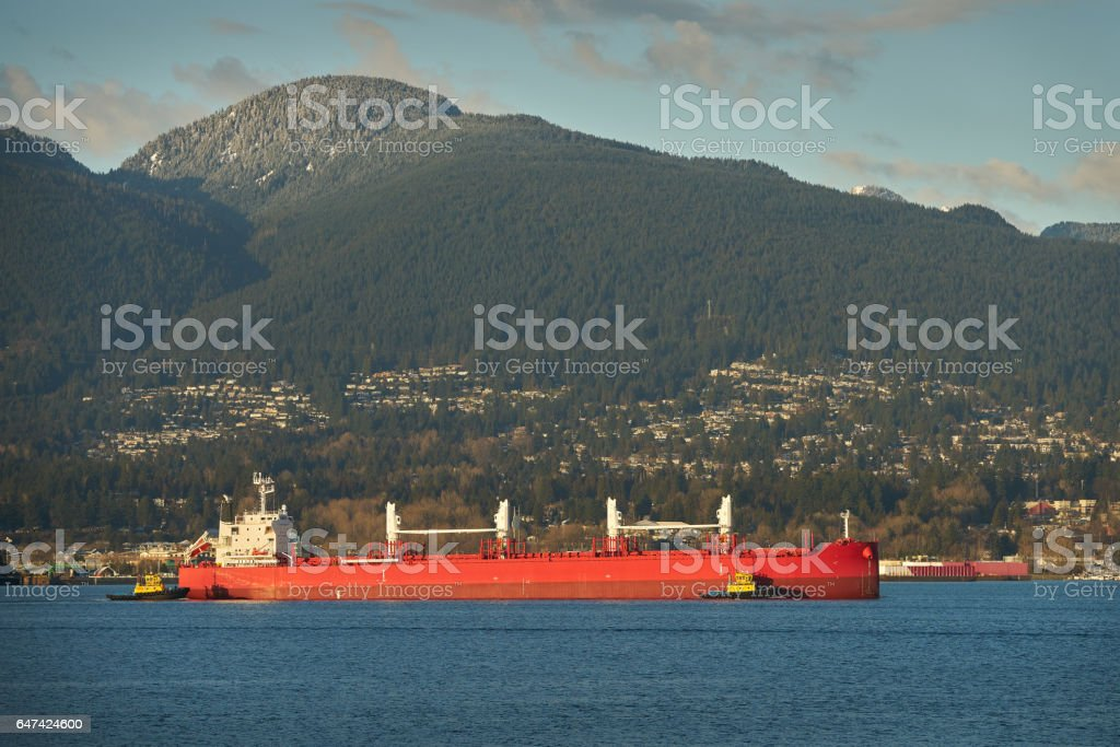 Oil Tanker and Tug Boats, Burrard Inlet, Vancouver stock photo
