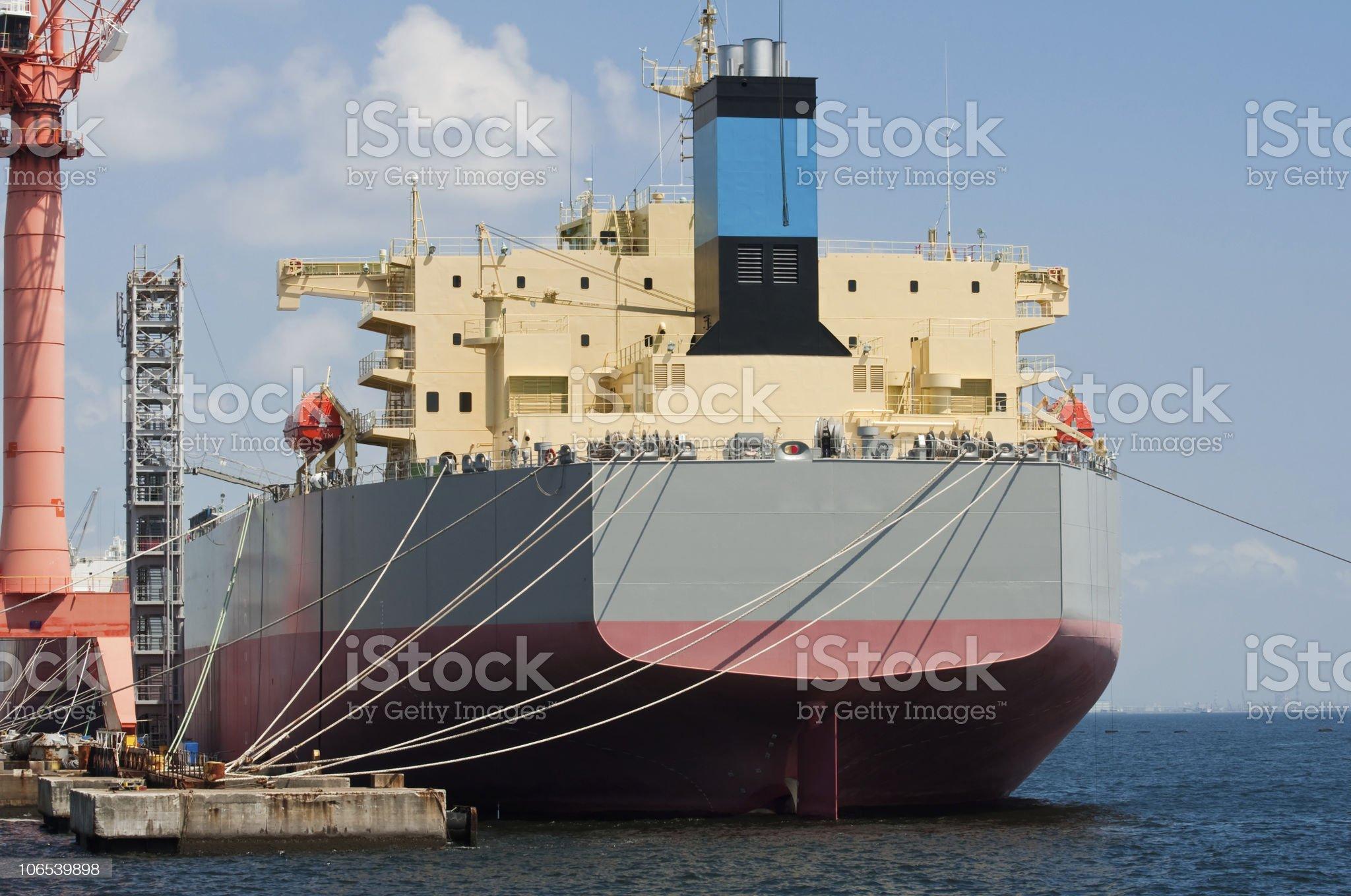 Oil tanker at a dockyard royalty-free stock photo