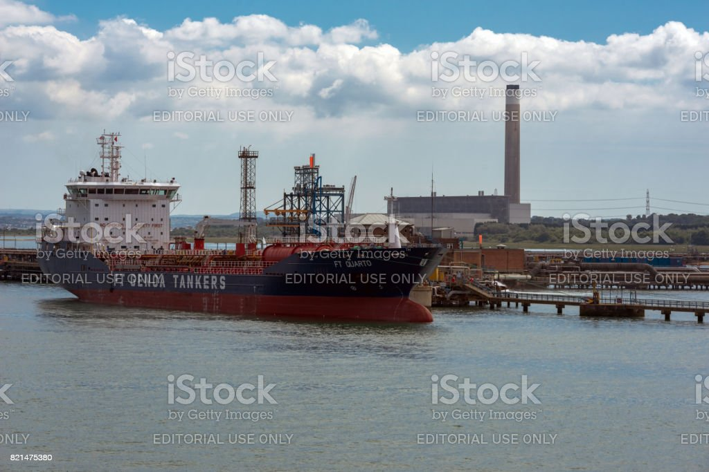 Oil tanker at Fawley refinery stock photo