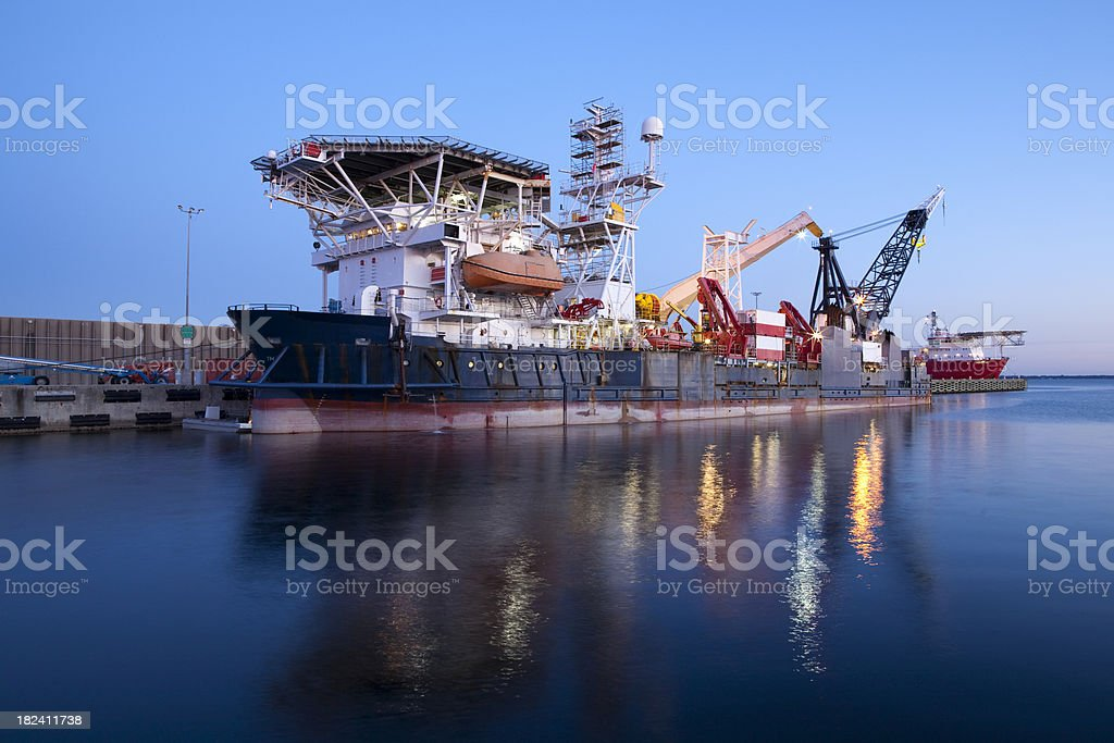 Oil Tanker at Harbor royalty-free stock photo