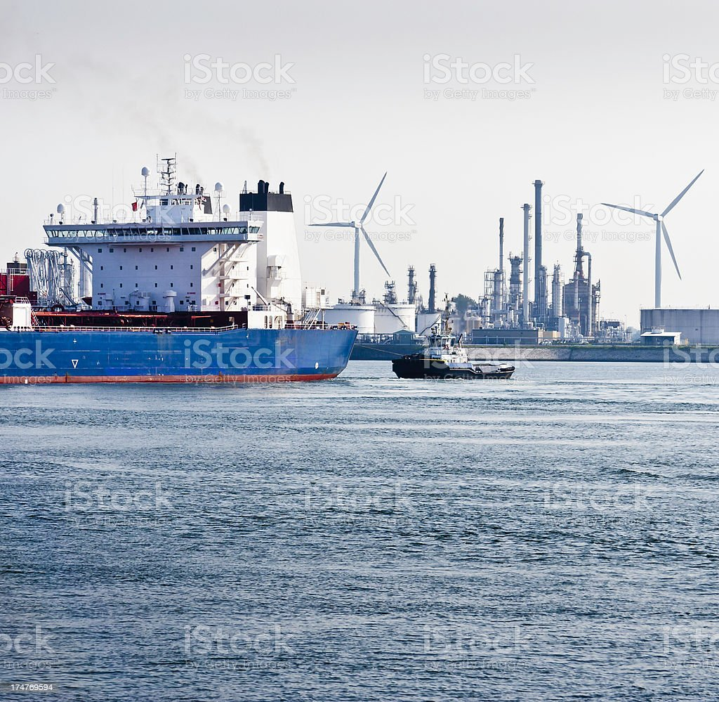 oil tanker at refinery royalty-free stock photo