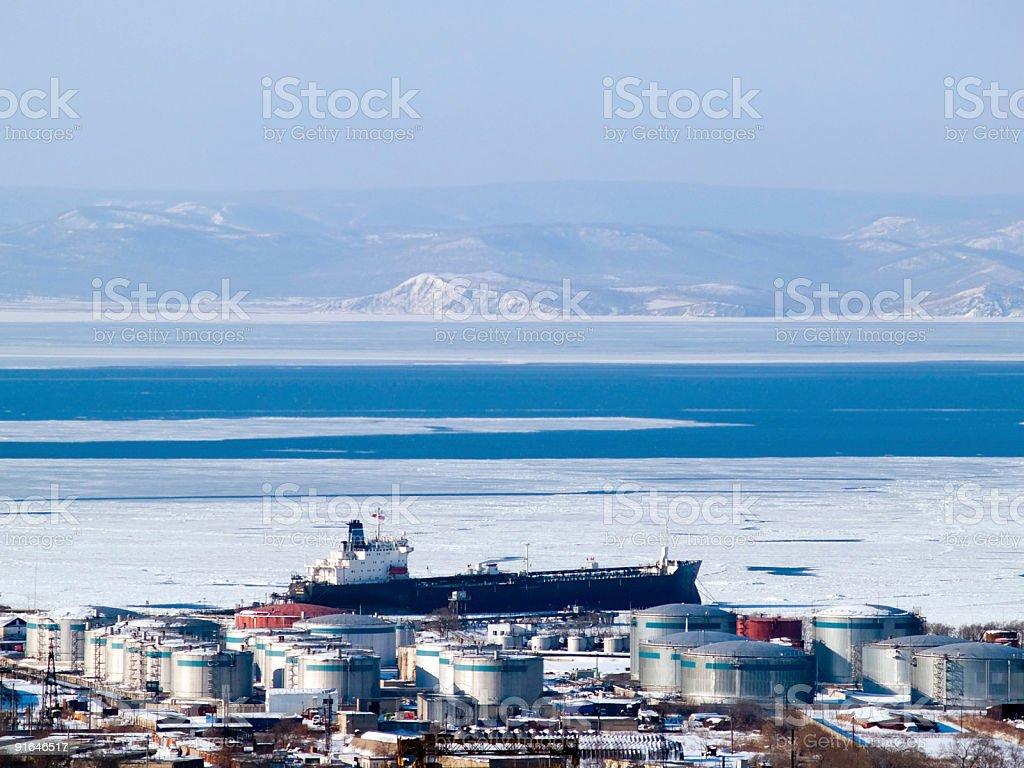 oil tanker at russian petroleum port Vladivostok royalty-free stock photo