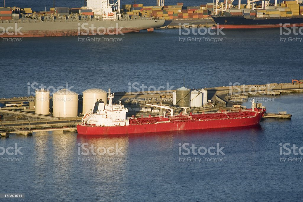 \'Oil tanker and container ships at the shipyards of Cape Town, South...