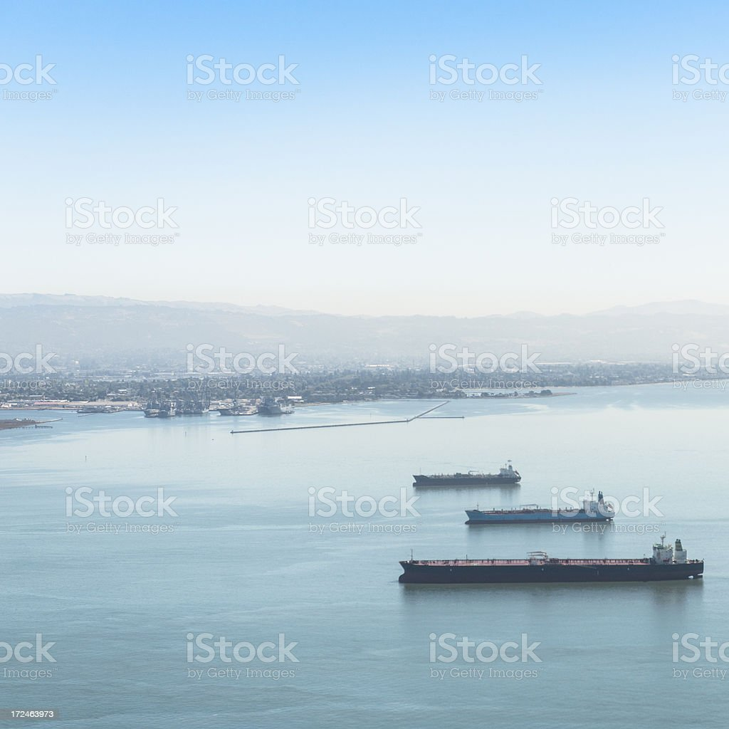 Oil tanker boat on the san francisco bay royalty-free stock photo