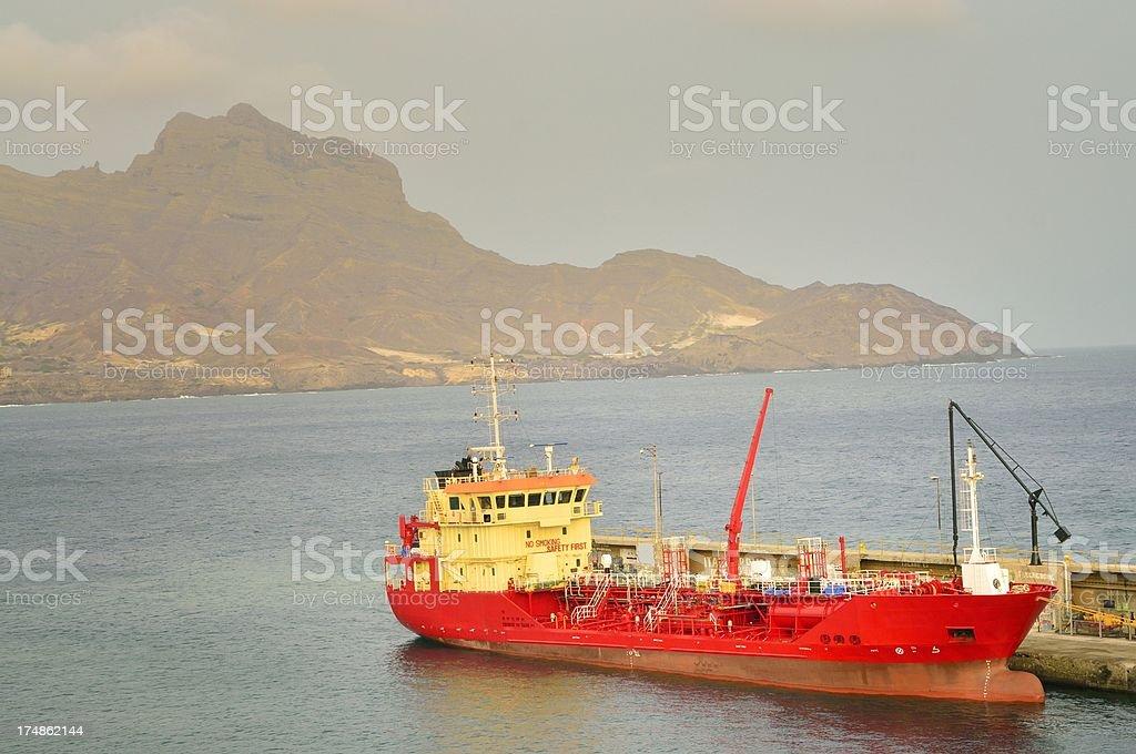 Oil tanker Cipreia Moored In Mindelo stock photo