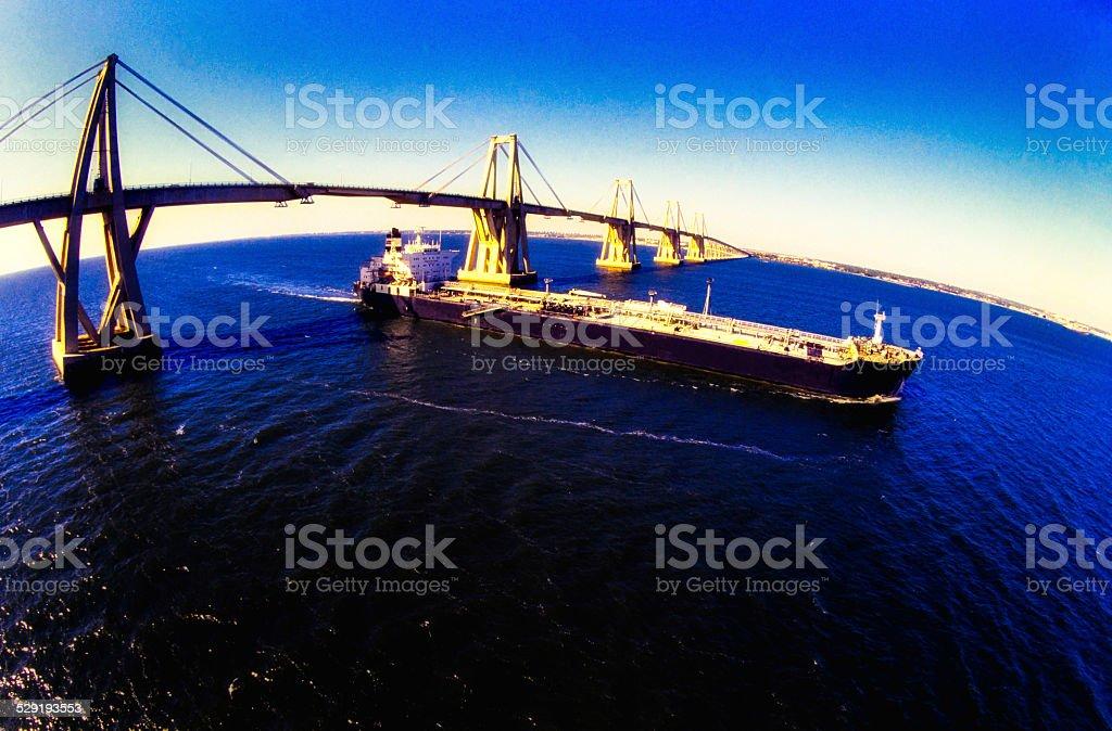 Oil Tanker Crossing Bridge stock photo