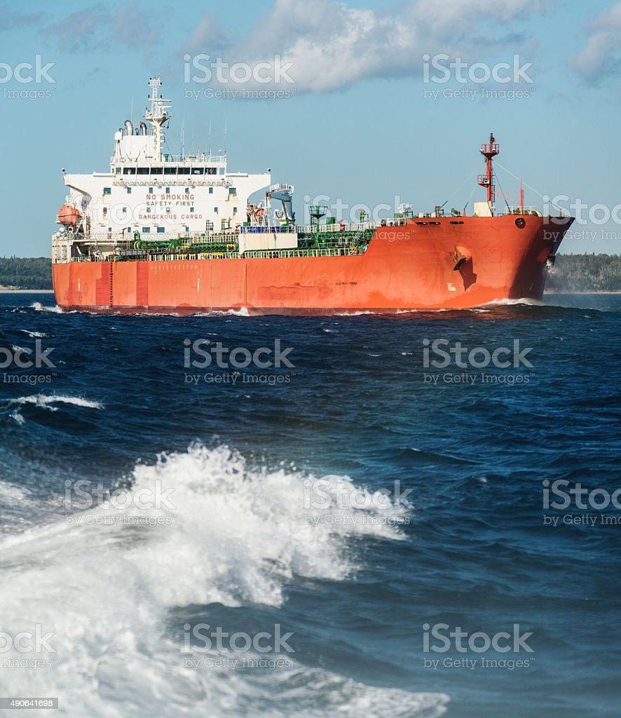 Oil Tanker Departs Harbour stock photo