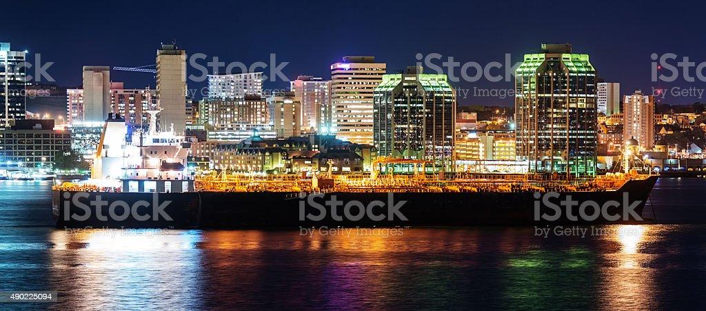 Oil Tanker in Halifax Harbour stock photo