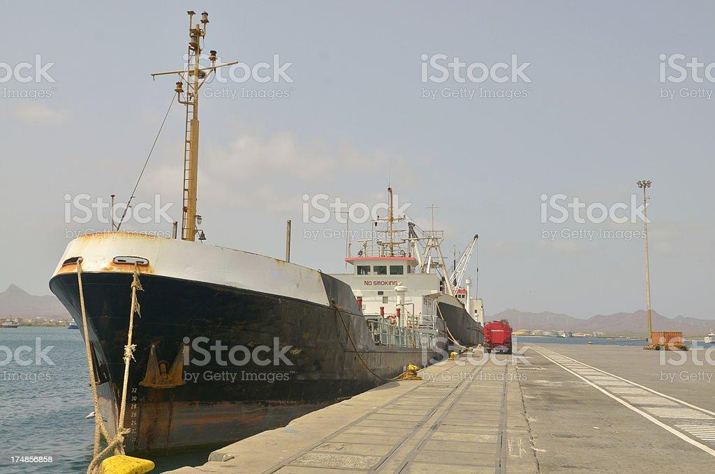 Oil Tanker In Mindelo stock photo