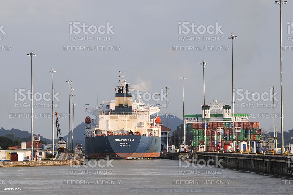 oil tanker in Miraflores Locks stock photo